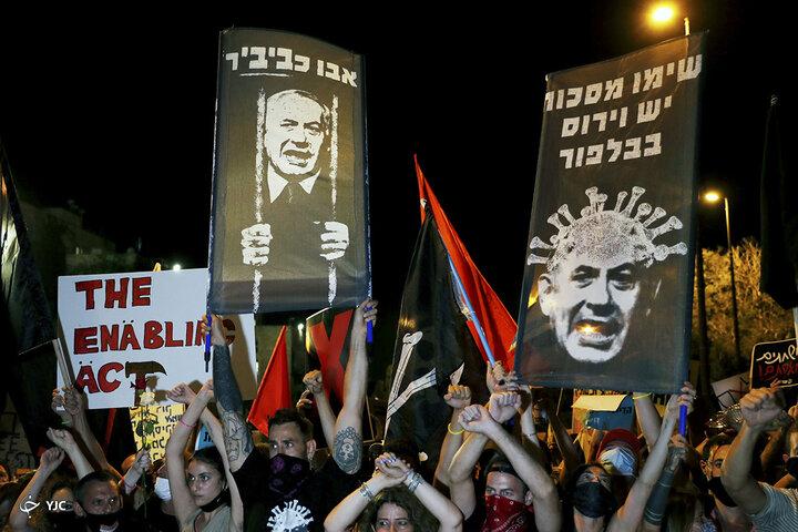 برگزاری تظاهرات ادامه دار علیه نتانیاهو در سرزمین های اشغالی/تصاویر