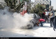 گزارش تصویری از آتشسوزی وحشتناک خودرو پژو در خیابان پیروزی
