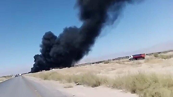 آتش گرفتن تانکر حامل سوخت در کرمان + فیلم