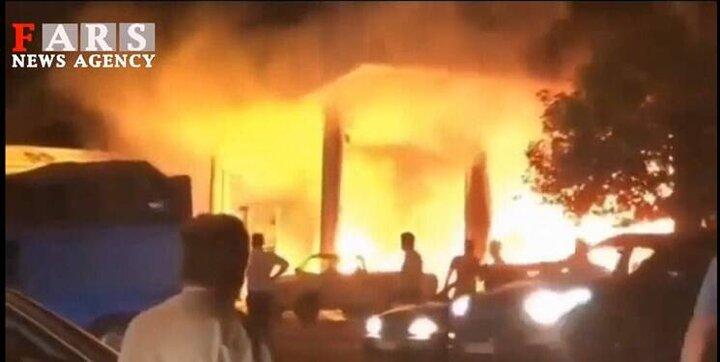 آتش سوزی وحشتتناک جایگاه سوخت در تاکستان قزوین + فیلم