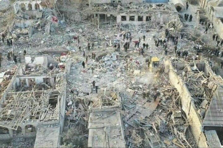 تصاویری هوایی از میزان خسارات حمله موشکی ارمنستان به شهر گنجه + فیلم