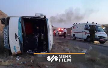 ویدئو دردناک از واژگونی اتوبوس زاهدان در آزادراه قم - کاشان + فیلم