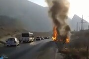انفجار وحشتاک خودرو سمند در محور عسلویه + فیلم