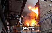 آتش سوزی انبار نخ در خیابان جمهوری + فیلم