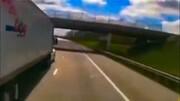 تصادف شدید تریلی ۱۸ چرخ در بزرگراه / فیلم