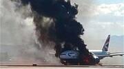 آتش سوزی هواپیمای بویینگ ۷۴۷ در فرودگاه / فیلم