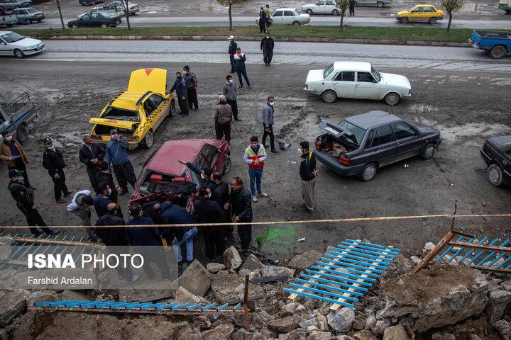 تصاویری از ریزش دیوار آرامستان بهشت محمدی سنندج