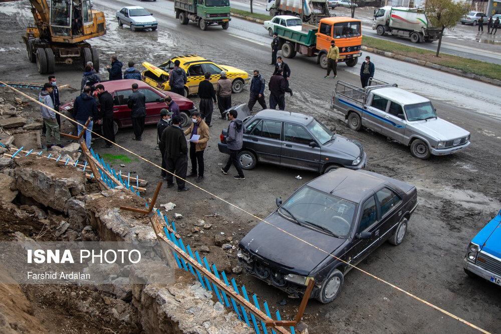 ریزش دیوار آرامستان بهشت محمدی سنندج