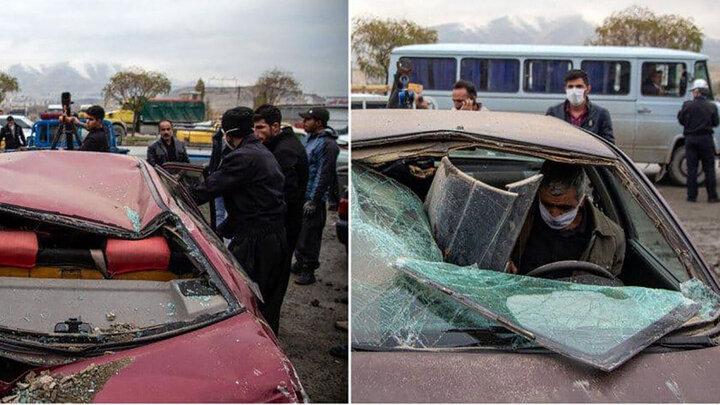 ریزش دیوار قبرستان سنندج روی ۱۲ خودرو / تصاویر