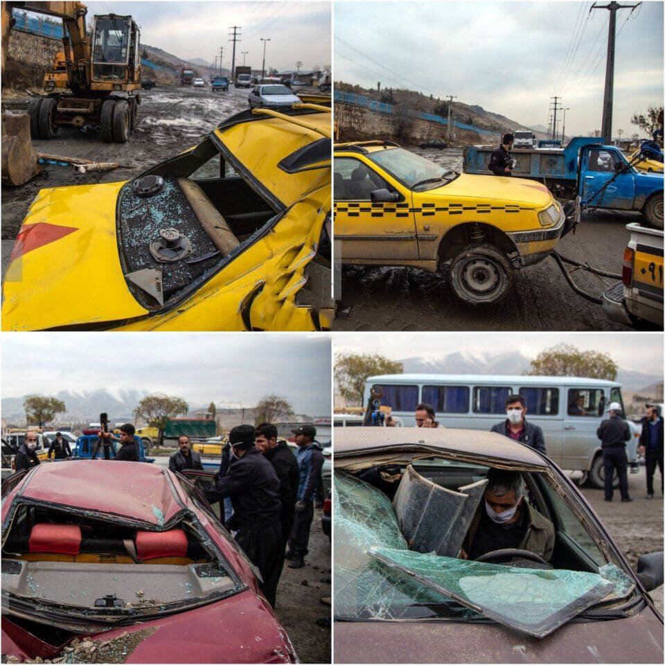 ریزش دیوار قبرستان سنندج روی خودروها - آرامستان