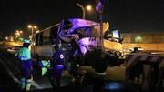 تصادف مرگبار اتوبوس و تریلی در کاشان خون به پا کرد