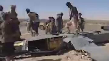 تصاویری از لحظه سرنگون شدن پهپاد عربستان سعودی در یمن /فیلم