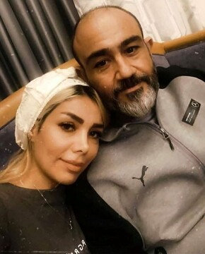 مهران غفوریان در کنار همسرش / عکس