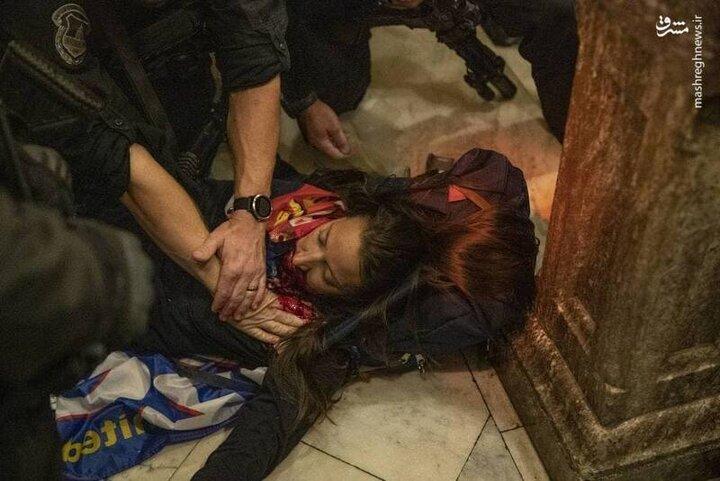 صحنه دلخراش شلیک به یک زن در کنگره آمریکا / فیلم