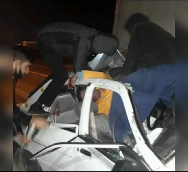 تصادف وحشتناک پراید در اتوبان تهران-ساوه / فیلم
