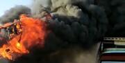 آتش گرفتن یک کارگاه لنجسازی در قشم/ فیلم