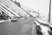 بارش برف سنگین برف در جاده کرج - چالوس