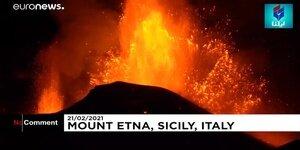 فوران کوه آتشفشان اتنا در ایتالیا/ فیلم
