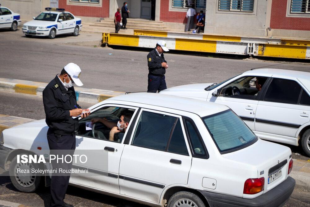 ممنوعیت ورود و خروج خودروها به اهواز در پی تشدید وضعیت قرمز-پلیسراه اهواز-سربندر