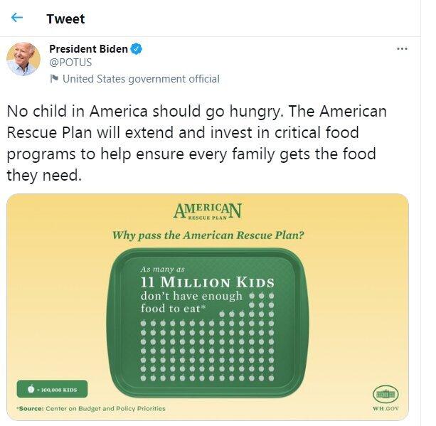 بایدن: ۱۱ میلیون کودک آمریکایی گرسنه هستند