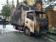 آتش سوزی خودروی حامل سوخت در تهران / عکس