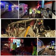 یک اتوبوس در جاده کرج - چالوس واژگون شد
