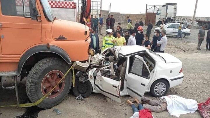 ۵ کشته بر اثر تصادف کامیون با سمند در نیشابور