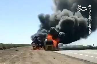 صحنه انفجار کامیون حامل تجهیزات لجستیک ارتش آمریکا در عراق / فیلم