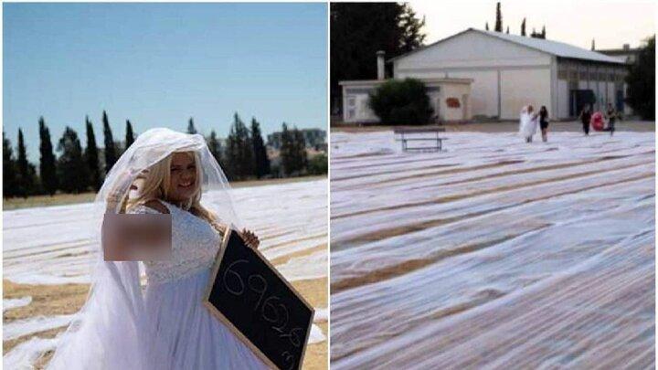 لباس عروس ۹۶۲ متری بر تن عروس قبرسی / فیلم