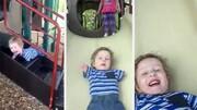 سرسره بازی کودک ۳ ساله معلول /  فیلم