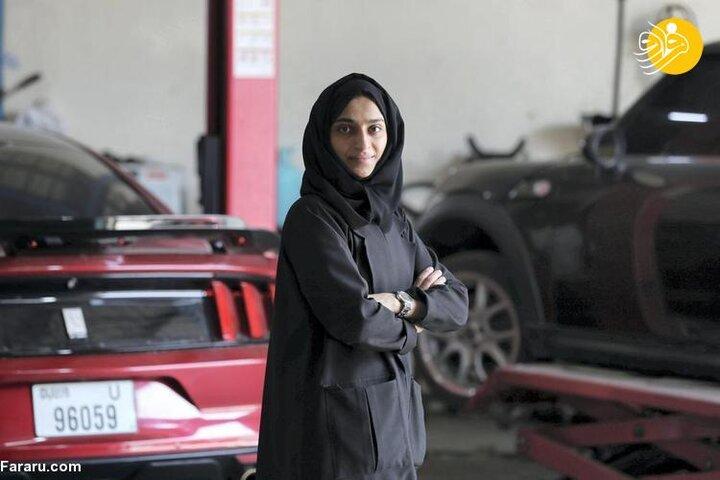 نخستین زن تعمیرکار خودرو در امارات / تصاویر
