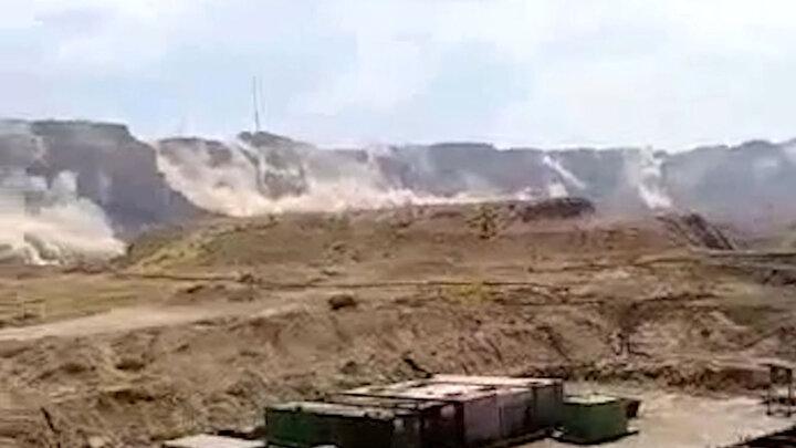 فیلمی از لحظه ریزش کوه در زلزله گناوه