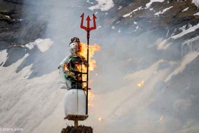 سنت آتش زدن مرد زمستانی در سوئیس / فیلم