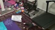 صحنه دلخراش بلعیدن شده کودک توسط تردمیل هنگام بازی / فیلم