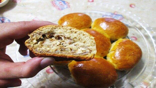 آموزش پخت نان توپی مغزدار