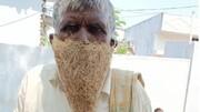 ماسک عجیب مرد هندی به نشانه اعتراض/ فیلم