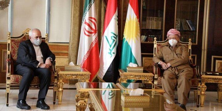 دیدار ظریف با مسعود بارزانی در اربیل