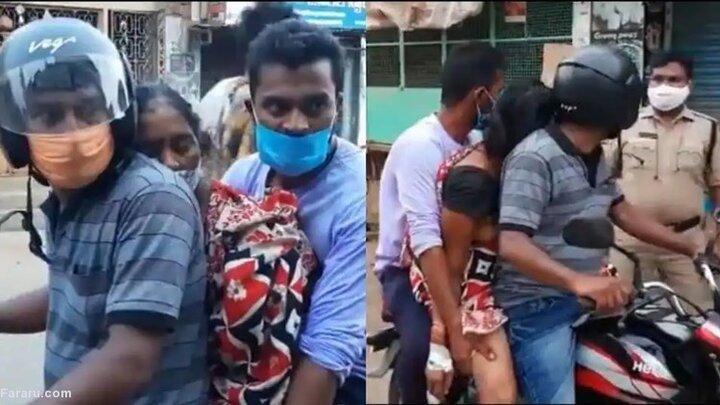 انتقال جنازه بیمار کرونایی با موتور / فیلم