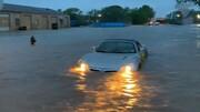 غرق شدن وحشتناک خودروها به دلیل سیل در ابیلین تگزاس / فیلم