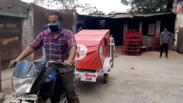 تبدیل موتور به آمبولانس برای کمک به بیماران کرونایی / فیلم