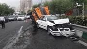 تصادف زنجیرهای در اتوبان مدرس تهران / فیلم