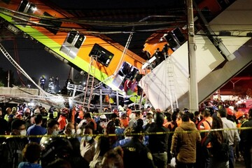 تصاویری از فرو ریختن پل قطار شهری در مکزیکو سیتی / فیلم