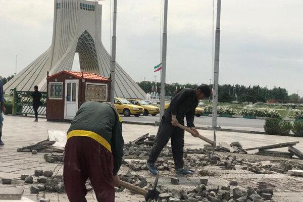 تخریب سنگفرش پارکینگ اختصاصی برج آزادی تایید شد