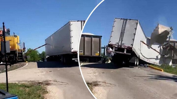 برخورد شدید قطار با کامیون بر روی ریل راهآهن / فیلم