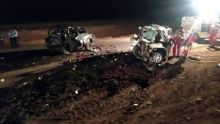 ۵ کشته در تصادف شاخ به شاخ سمند و پژو در اردبیل / عکس