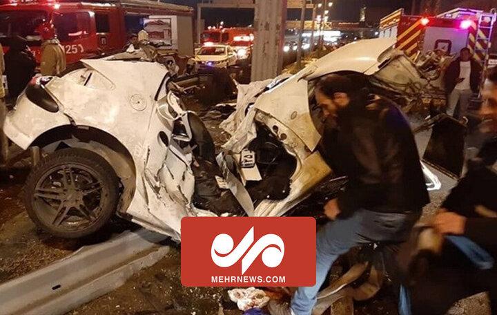 فوت ۵سرنشین به دلیل سقوط مرگبار خودرو در اتوبان شهید بابایی تهران/ فیلم