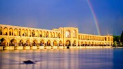 رنگینکمان زیبا در اصفهان بعد از بارش باران بهاری / فیلم