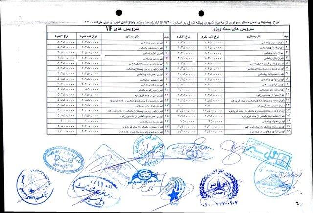 نرخ جدید کرایه سواریهای بینشهری در مسیرهای منتهی به تهران / جدول