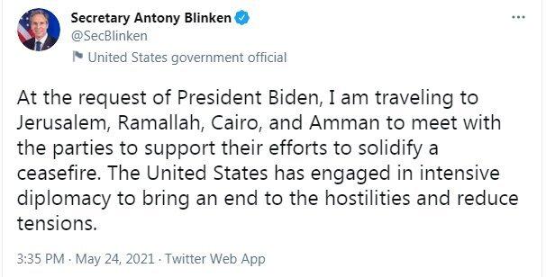 «بلینکن» عازم منطقه و فلسطین اشغالی شد