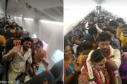 برگزاری جشن عروسی در هواپیما / فیلم
